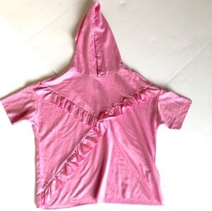 Youth's pink ruffle short sleeve hoodie